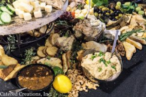 A variety of appetizers at the grazing table of the Spring Tasting Event